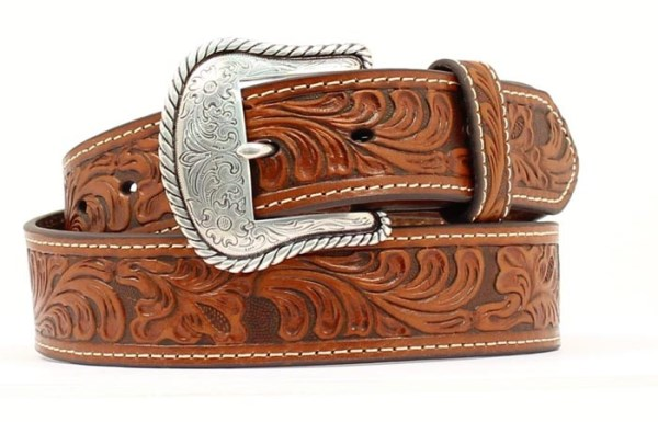 Nocona Tan Western Tooled Leather Belt