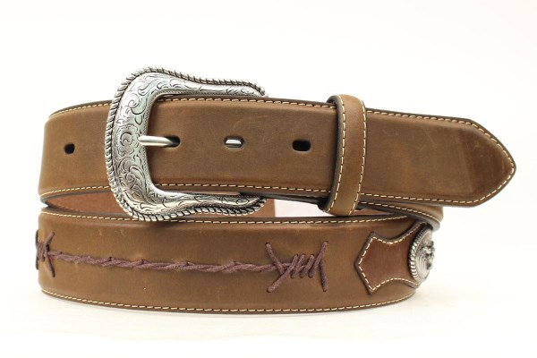 Nocona Top Hand Western Brown Leather Belt with Barbed Wire Accent