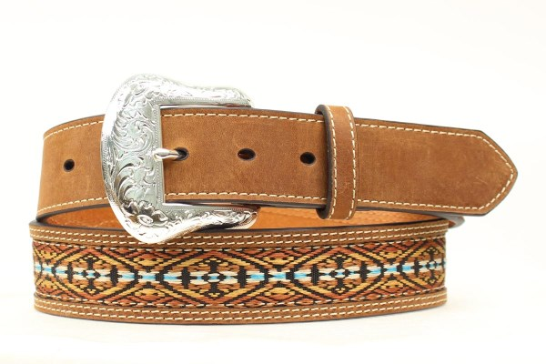 Nocona Top Hand Western Brown Leather Belt with Southwestern Inlay
