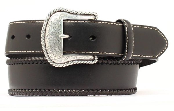 Nocona Black Western Belt with Laced Edge