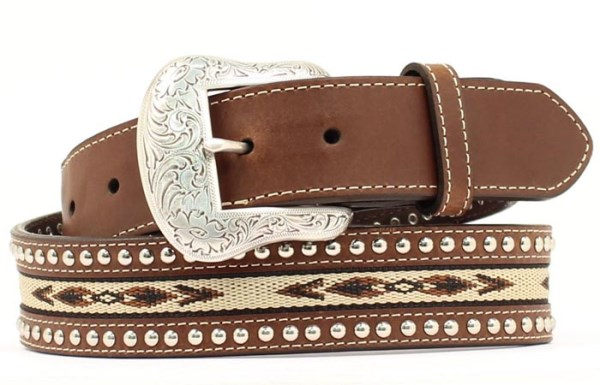 Nocona Western Brown Leather Belt with Southwestern Inlay