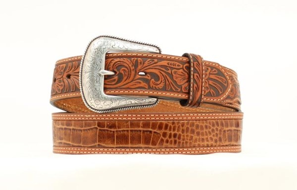 "Nocona Western 1 1/2"" Tan Crocodile Print Belt"