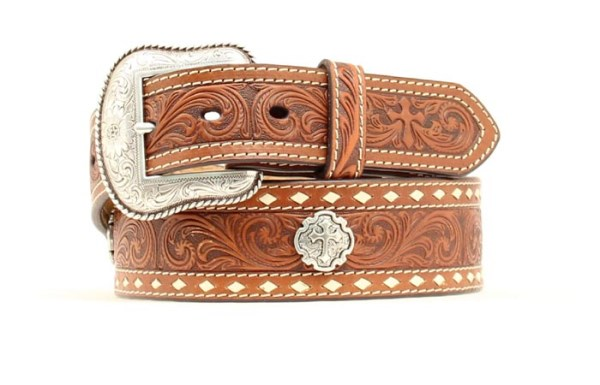 "Nocona Western 1 3/4"" Brown Floral & Cross Belt"