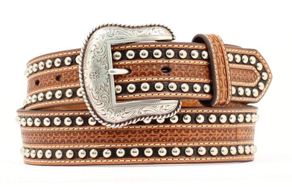 "Nocona Western 1 1/2"" Tan/Black Belt"