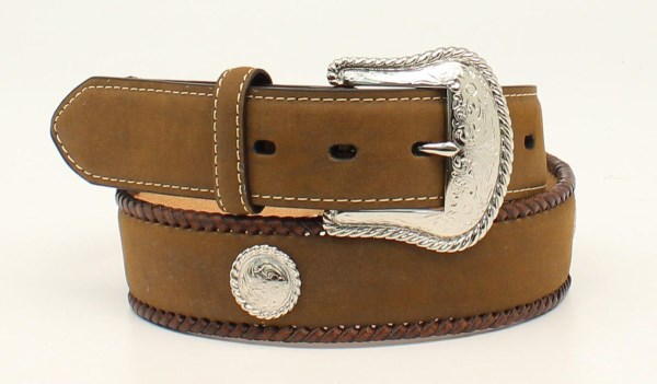 "Nocona Western 1 1/2"" Brown Belt with Leather Edge Lacing"