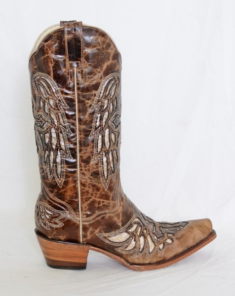 Dustin Ladies Oryx Wing and Cross Pointed Toe Cowboy Boots