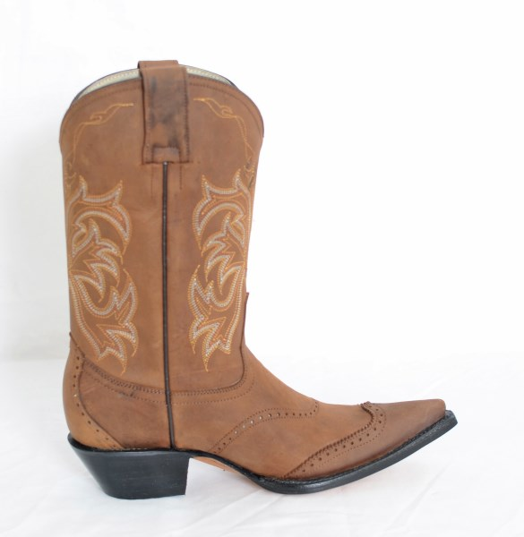 Ladies Elegant Brown/Gold Pointed Toe Cowboy Boots