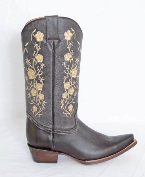 Ladies Elegant Brown/Beige Floral Snip Toe Cowboy Boots