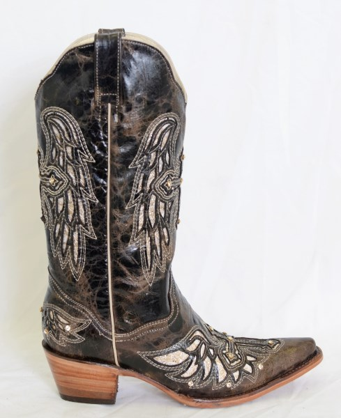Dustin Ladies Chocolate Wing and Cross Pointed Toe Cowboy Boots