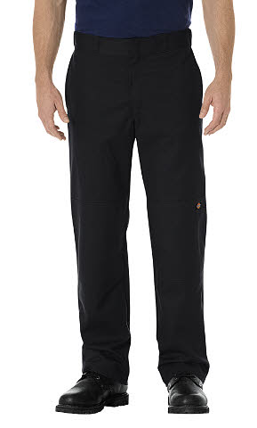 Dickies Mens Stretch Twill Double Knee Work Pants - Black