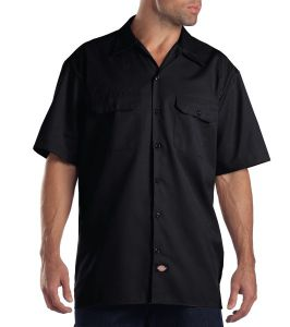 Dickies Black Short Sleeve Work Shirt, Big & Tall