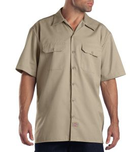 Dickies Military Khaki Short Sleeve Work Shirt - Big & Tall