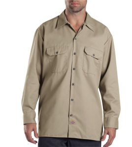 Dickies Military Khaki Long Sleeve Work Shirt - Big & Tall