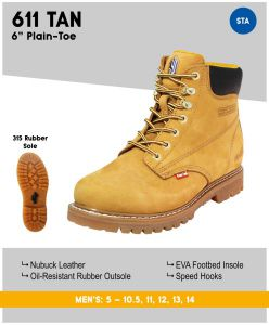 "Cactus Men's 611 6"" Nubuck Leather Work Boots - Tan"