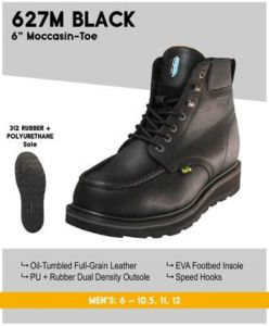 "Cactus Men's 627M 6"" Dual Density Outsole Moc-Toe Work Boots - Black"