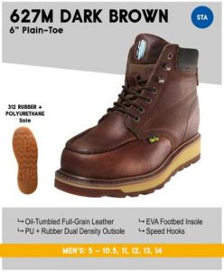 "Cactus Men's 627M 6"" Dual Density Outsole Boots – Dk Brown"