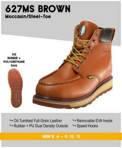 "Cactus Men's 627MS 6"" Dual Density Outsole Moc/Steel-Toe Work Boots – Brown"