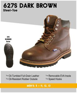 "Cactus Men's 627S 6"" Steel-Toe Work Boots – Dk Brown"