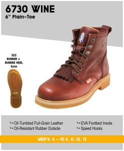 "Cactus Men's 6730 6"" Oil-Resistant Rubber Outsole Work Boots – Wine"