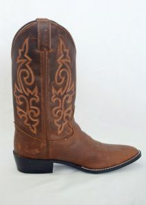 Justin Kids Brown Stirrup Round Toe Cowboy Boots