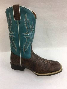 Justin Kids Chocolate/Turquoise Puma Square Toe Cowboy Boots