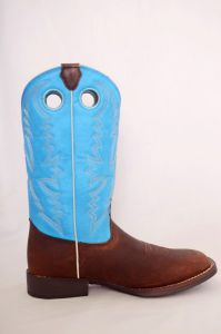 Justin Kids Chocolate Buffalo w/ Blue Top Square Toe Cowboy Boots