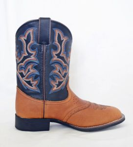 Justin Kids Tan/Black Square Toe Cowboy Boots
