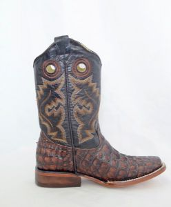 Dustin Kids Cognac/Brown Square Toe Cowboy Boots with Argentinian Crocodile Print