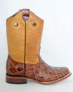 Dustin Kids Cognac/Gold Square Toe Cowboy Boots