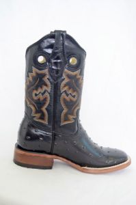 Dustin Kids Black Square Toe Cowboy Boots
