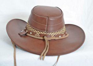 Golden Brown & Tan Leather Aussie Cowboy Hat