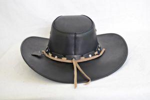 Black Leather Aussie Cowboy Hat