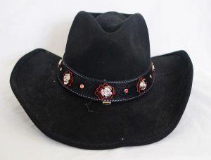 Elegant Rose Black Cowboy Hat