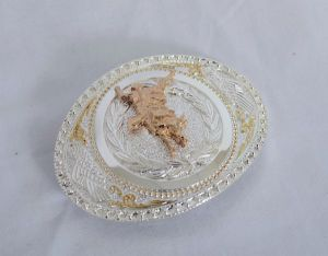 Elegant Bullrider Winner's Circle Gold and Silver Western Belt Buckle