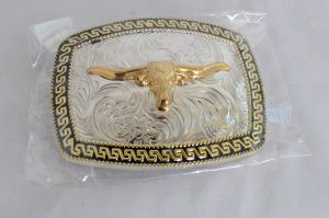 Longhorn Black, Gold and Silver Western Belt Buckle