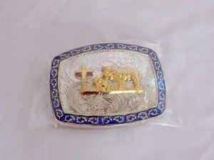 Praying Cowboy Black, Gold and Silver Western Belt Buckle