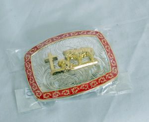 Praying Cowboy Red, Gold and Silver Western Belt Buckle