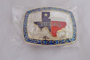 Texas Star Red, White, and Blue with Blue Border Western Belt Buckle