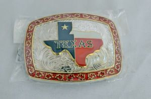 Texas Star Red, White, and Blue with Red Border Western Belt Buckle
