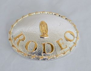 Virgin Mary Rodeo Gold and Silver Western Belt Buckle
