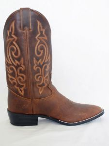 Justin Mens Brown Apache Round Toe Cowboy Boots