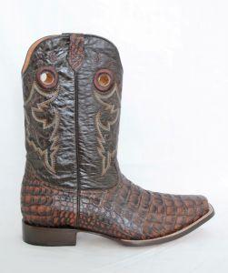 Mens Cognac Square Toe Cowboy Boots