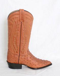 Mens Cognac Narrow Round Toe Cowboy Boots