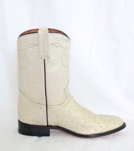 Mens Bone Narrow Round Toe Cowboy Boots