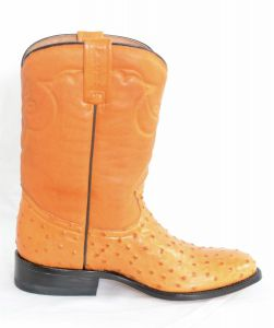 Mens Orange Roper Round Toe Cowboy Boots