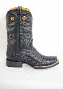 Dustin Mens Black Square Toe Cowboy Boots