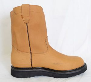 Dustin Mens Honey Round Toe Work Boots with Pinstripe Sole