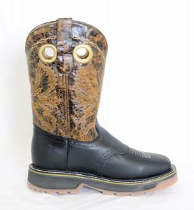 El  Dorado Mens Black Square Toe Work Boots