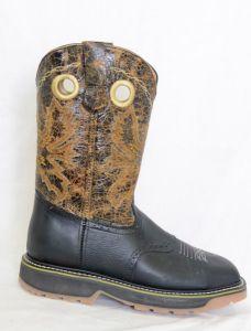 El  Dorado Mens Black Steel Square Toe Work Boots