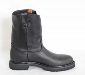 Dustin Mens Black Round Toe Work Boots with Tractor Sole